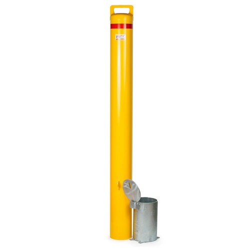Bollard Removable  Padlock 140mm In Ground Yellow