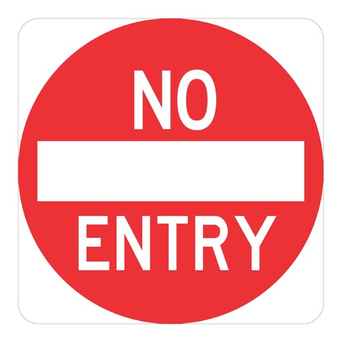 "R2-4  ""No Entry"" Sign, 450mm x 450mm, Red Text on Reflective White Background Aluminium Sign"